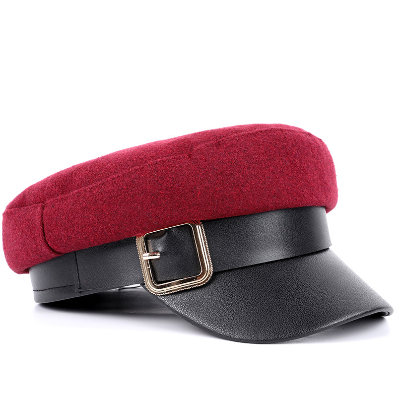 New Flat Top Military Cap Female Autumn And Winter Retro Belt Buckle Bailey Hat Leather Hat Cap Stitching