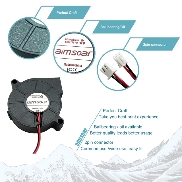 5015 fan 12v 24v ender 3 fan 50mm oil fan dual ball bearing fan blower cooler cooling fan 2 pin 3d printer parts 5015 50*50*15mm