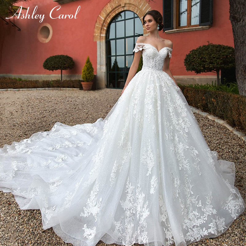 Ashley Carol Sexy Sweetheart Lace Princess Ball Gown Wedding Dresses 2019 Cap Sleeve Luxury Royal Train Wedding Gowns Plus Size