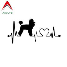 Aliauto Cartoon Car Stickers Poodle Heartbeat Dog Vinyl Anti-UV Decal Automobile Styling Truck Decoration Black/Silver,19cm*8cm(China)