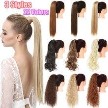 Fałszywe fałszywe włosy w koński ogon rozszerzenie peruka klip w prosto perwersyjne kręcone długie syntetyczne Wrap wokół koński ogon czarny blond Hairpiece