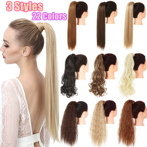 Fake False Ponytail Hair Extension Wig Clip in Straight Kinky Curly Long Synthetic Wrap Around Pony Tail Black Blonde Hairpiece