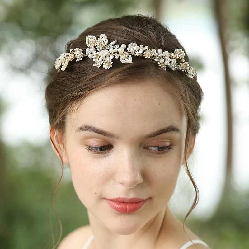 Vintage Light Gold Crystal Bridal Hair Vine Headband Handmade Delicate Wedding Headpiece Party Prom Hair Jewelry 2020