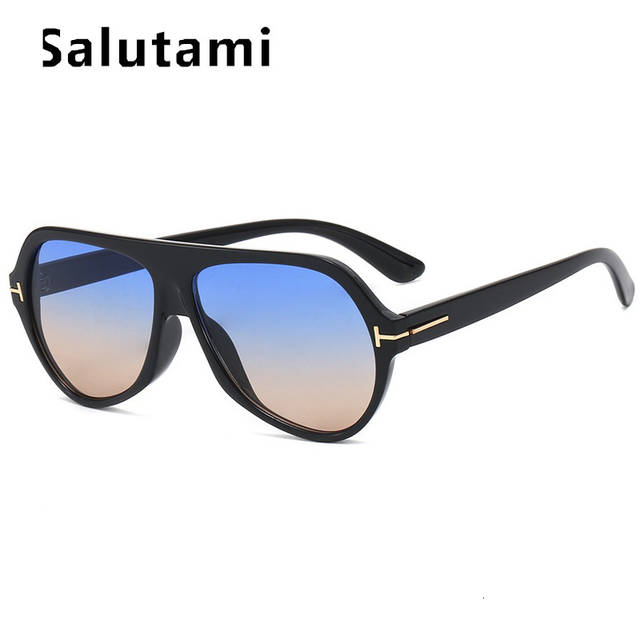 US $6.43 45% OFF|Black Oval Brand Sunglasses For Men 2019 Vintage Retro Luxury Sun Glasses Women Oversize Flat Eyewear Male Pilot Shades Uv400|Men's