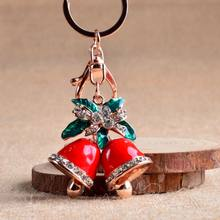 Christmas Ornaments Bell Keychain Metal Rhinestone Charm Pendant Christmas Gift Lady Bag Jewelry Exquisite Beautiful(China)
