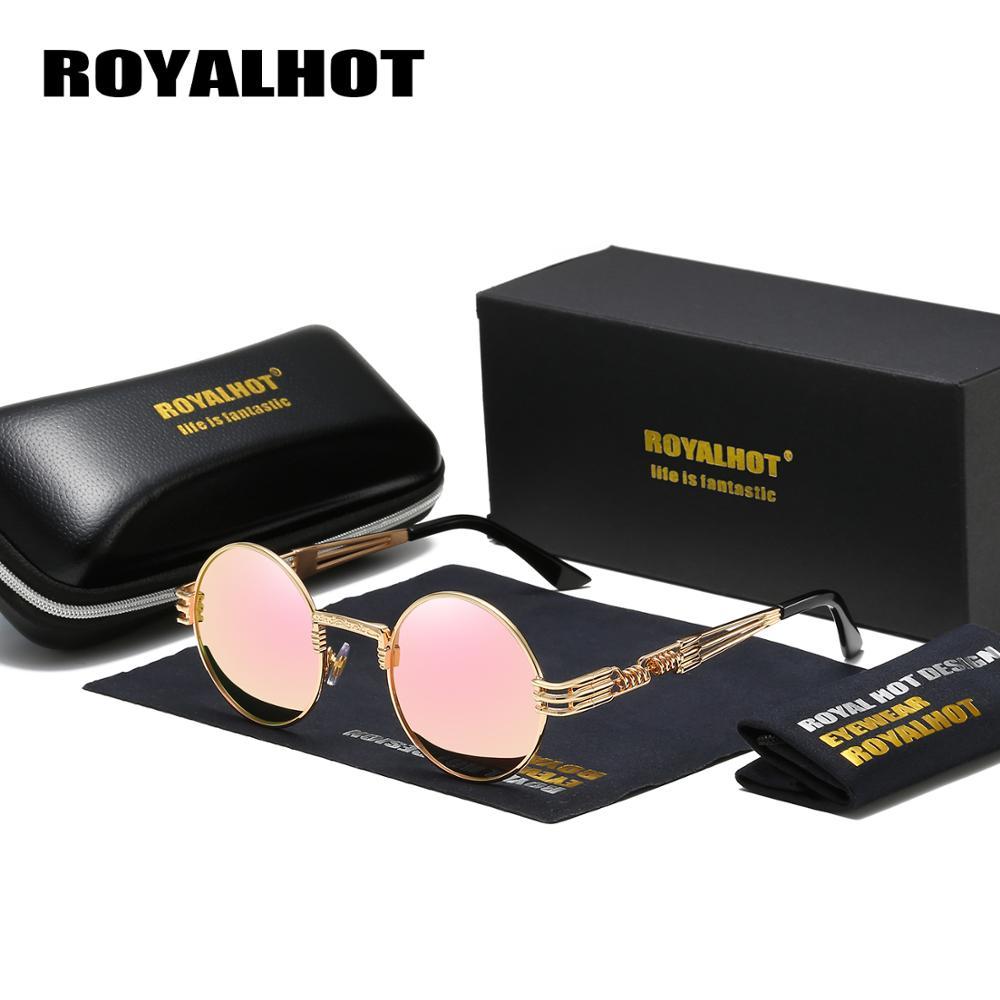 Clássico do Vintage Óculos de Sol dos Homens Óculos de Sol Armação de Metal Royalhot Retro Redondo Polarizado Marca Designer Feminino Rosa Lente Eyewear