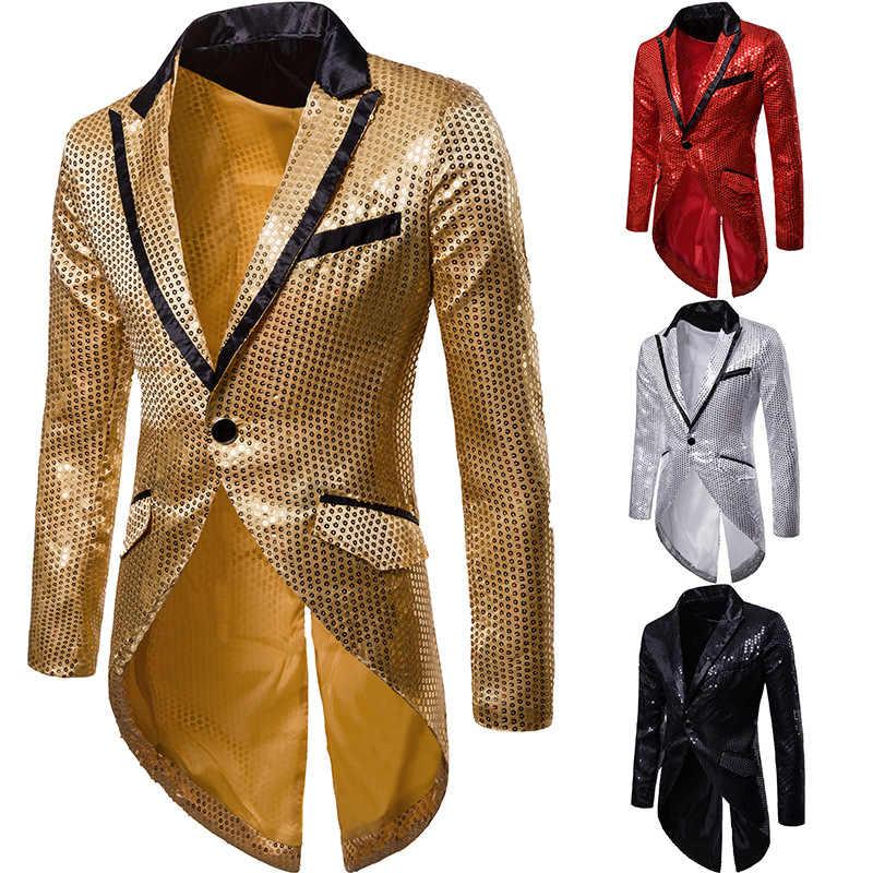 Mens Shiny Gold Pailletten Glitter Frack Jacke Marke Neue Slim Fit Eine Taste Lange Smoking Blazer Party Bühne Sängerin Kostüm homme