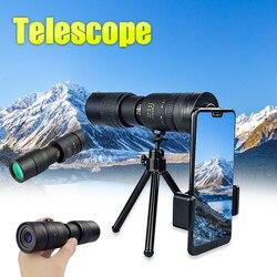 4k 10-300x40mm super telefoto zoom monocular telescópio com bak4 prisma lente para viagens de praia esportes ao ar livre