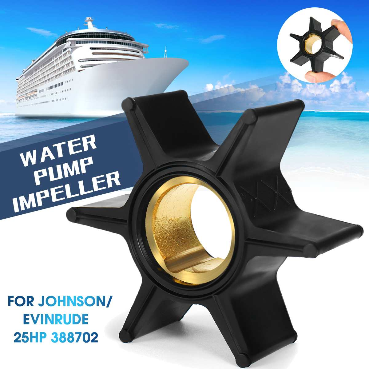 Marine Water Pump Impeller Boat Engine Impeller 6 Blade for Johnson / Evinrude 25HP 388702 Durable Boat Parts Accessories