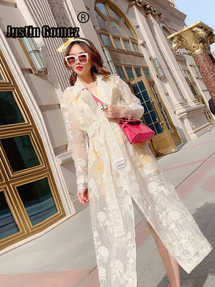 Autumn New Organza Embroidery Long Coat with Belt Made of High Quality Materials Cardigan Solid White Slim   Trench   Coat for Women