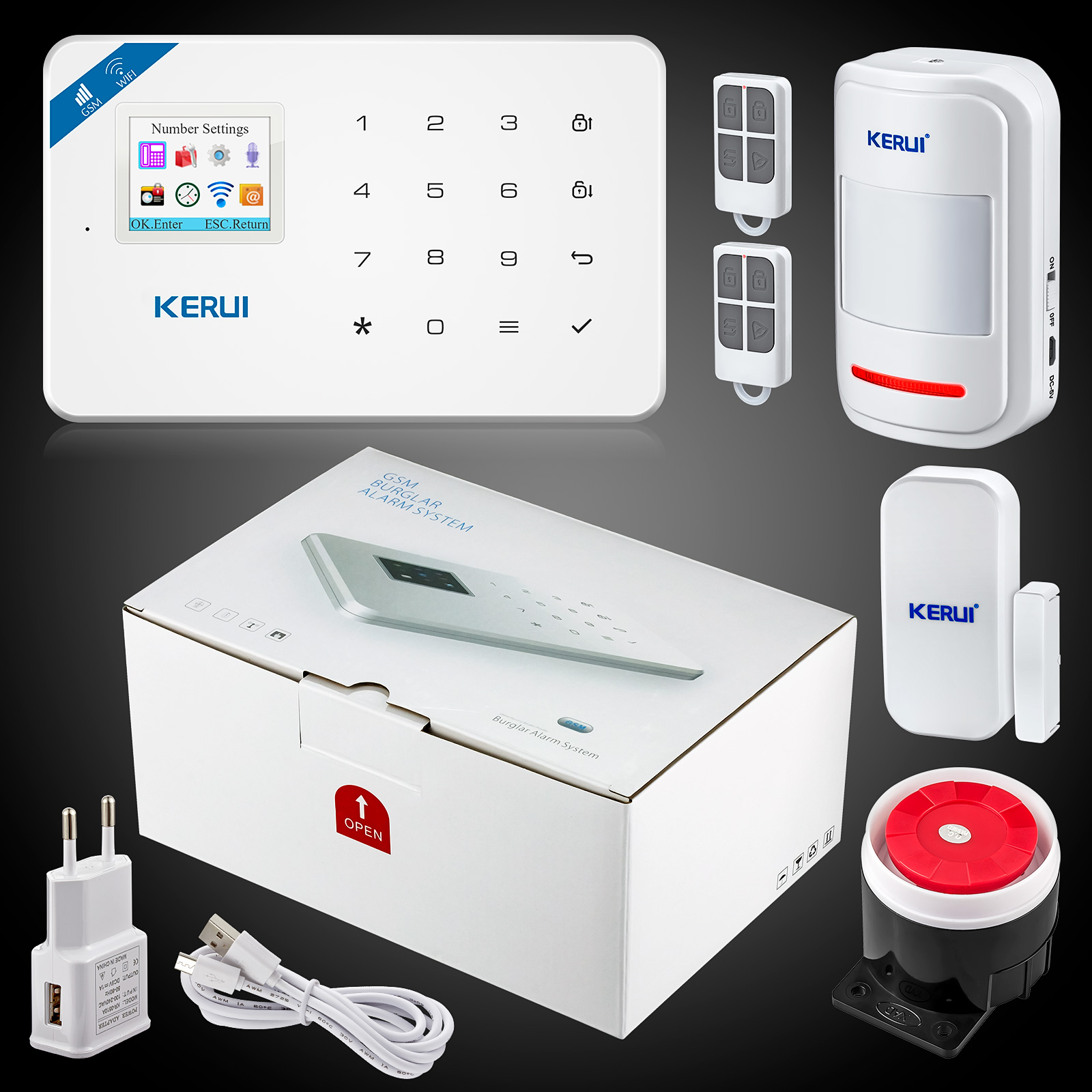 Kerui W18 Wireless Wifi Home Alarm GSM IOS Android APP Control LCD GSM SMS Burglar Alarm System For Home Security Alarm-in Alarm System Kits from Security & Protection