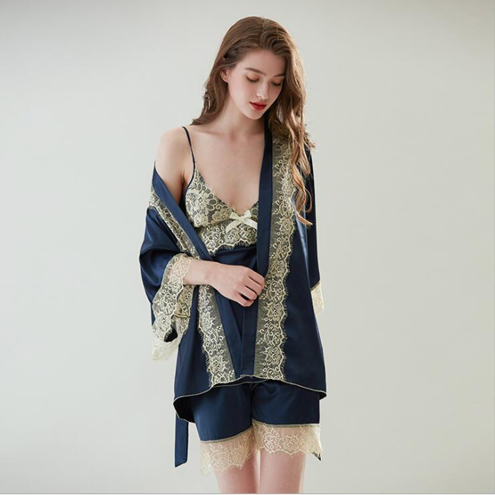 Women's Sleepwear Sexy Satin Silk Pajama Set Sleeveless Strap Nightwear Lace Trim Satin Cami Top Pyjamas Lace Up Babydoll Shorts