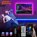 A +Bluetooth LED Strip Lights, Music Sync 5050 LED Light Strip RGB Color Changing LED Lights Strip (APP+Remote +Mic)