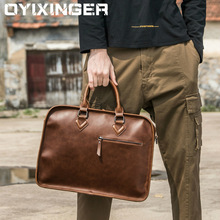 Laptop Handbag Crazy Horse Leather Men Briefcase Vintage Big BusinessFashion Brown Messenger