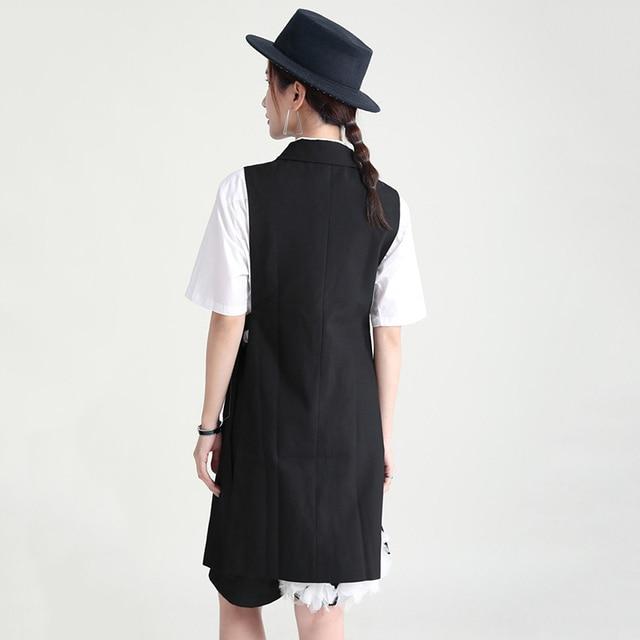 [EAM] Women Loose Fit Black Cross Spliced Irregular Long Vest New Lapel Sleeveless Fashion Tide Spring Summer 2021 1DD9297 6
