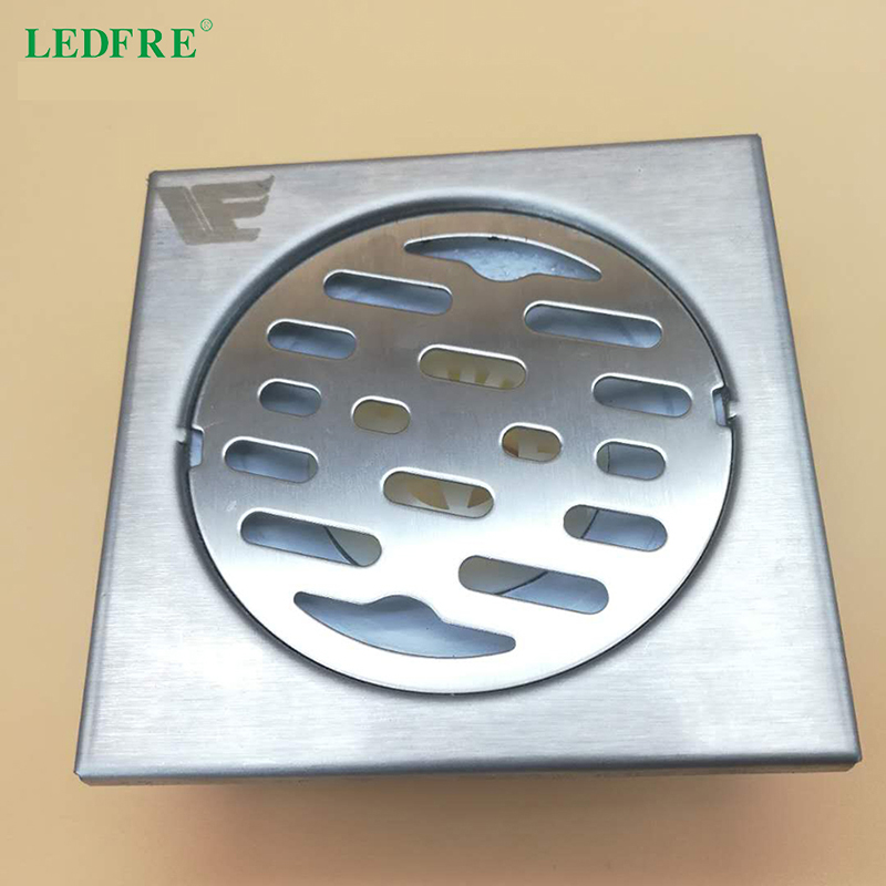 10CMx10CM Floor Drain Bathroom Square Shower Drain with Removable Cover Anti-clogging for Kitchen Washroom Basement image