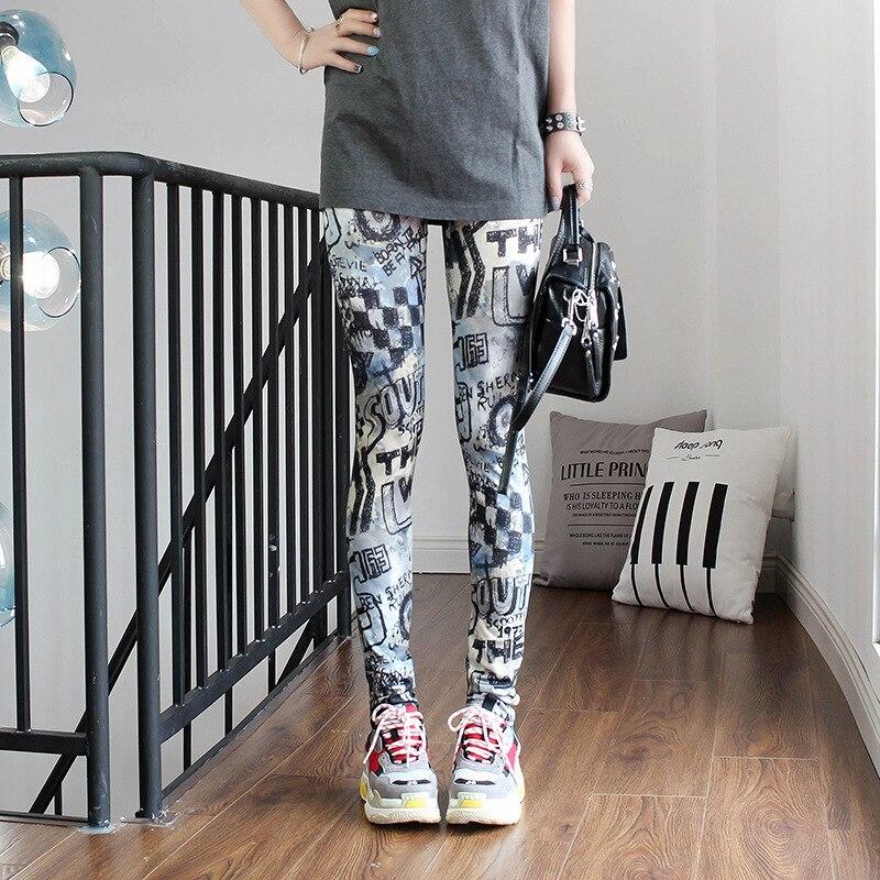 YRRETY Print Leggings Fitness For Women Sporting Workout Leggins Elastic Slim Geometric Push Up Cartoon Printing Pattern Pants