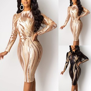 Sexy Party Women Dress Shiny Glitter Tunic O-neck Long Sleeve Perspective Sexy Sequin Nightclub Casual Knee Length Ladies Dress