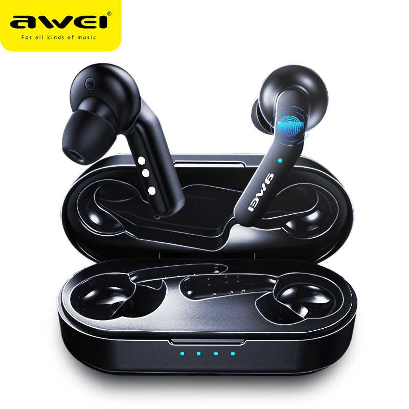 Najnowszy AWEI T10C Bluetooth TWS 5.0 słuchawki słuchawki inteligentne sterowanie dotykowe zestaw głośnomówiący słuchawkowy prawdziwe bezprzewodowe wkładki douszne z mikrofonem