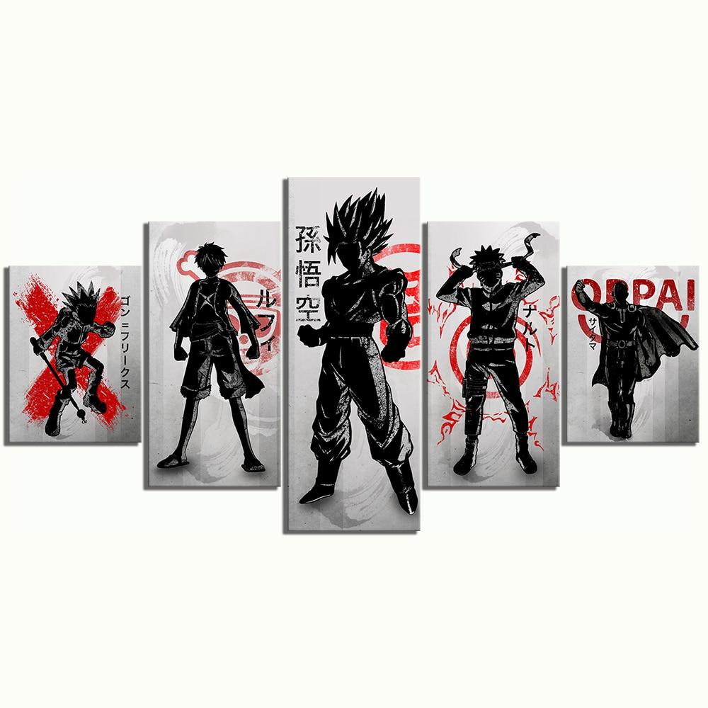 5 Piece Anime Manga Cartoon Characters Artwork Canvas Paintings Dragon Ball One Piece Goku Naruto Luffy  Wall Art for Home Decor 3