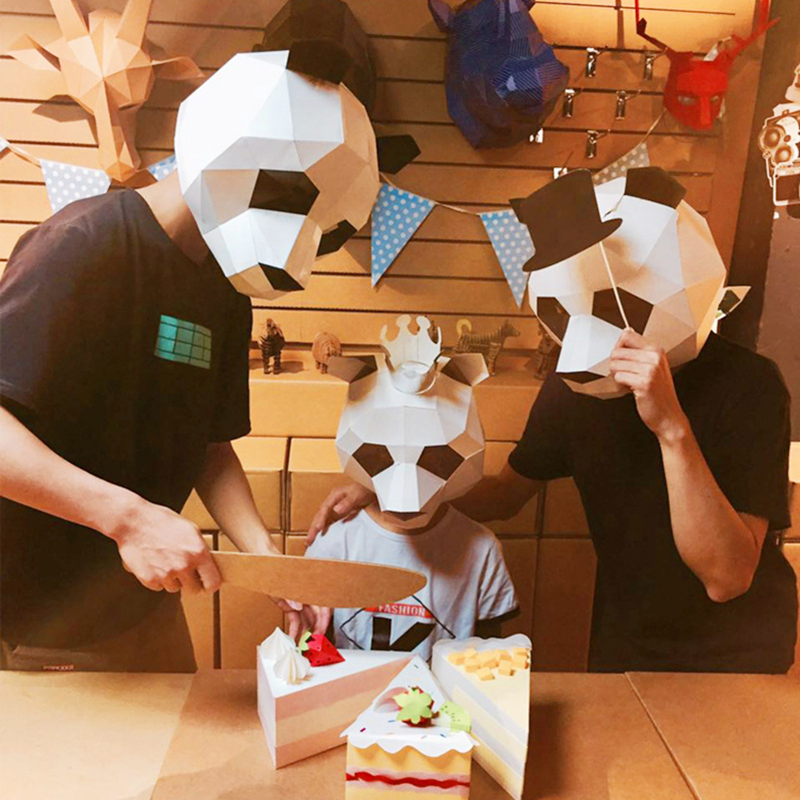 Molded Paper Origami Full Face Mask Headgear Handmade Creative DIY Funny Cute Dance Parties Camera Props Toys
