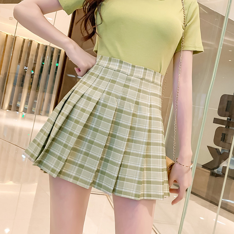 Photo Shoot Summer Students Matcha Green Plaid Skirt High-waisted Mustard Green A Word Skirt Avocado Color Pleated Short Skirt