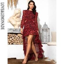 فستان LOVE & LEMONADE مثير مفتوح من الخلف من الشيفون بأكمام طويلة وفهد أحمر LM81503