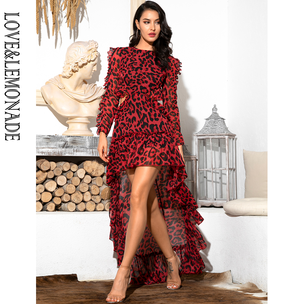 LOVE&LEMONADE Sexy Cut Out Open Back Red Leopard Long Sleeve Chiffon Dress LM81503 image