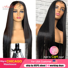 Straight Hair Lace Wig 180% Density 100% Human Hair Wigs With Baby Hair Arabella Malaysian Remy 4*4 Wig Pre Plucked Closure Wig