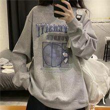 Legal oversized hoodie feminino impressão melhor harajuku feminino roupas de topo streetwear solto casual pulôver tripulação pescoço versão coreana