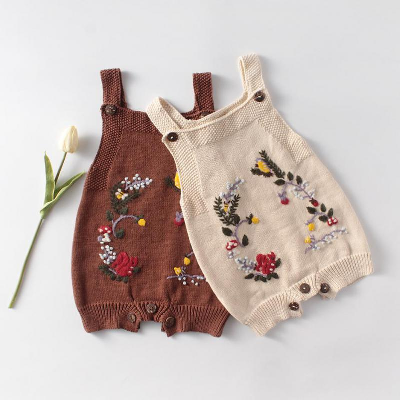 Spring Baby Bodysuit Knitted Boys Onesie Embroidery Flowers Newborn Girls Coveralls Toddler Sleeveless Jumpsuits