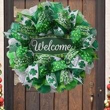 Św. Patryk dzień Leprechaun wianek dekoracja drzwi koniczyny Leprechaun wstążka bardzo pogoda wielkanoc dekoracja domu wisząca pogoda