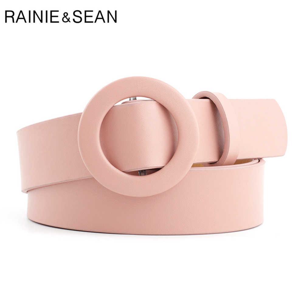 RAINIE SEAN Cinture Fibbia Rotonda per Le Donne No Hole Solido Rosso Rosa Delle Signore Cinghie di Vita Alta Moda Accessori di Abbigliamento Femminile