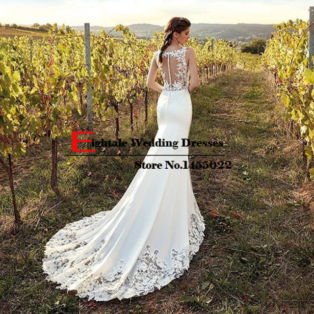 Eightale Boho Wedding Dress Mermaid 2019 Appliques Lace Chiffon Buttons V-Neck Custom Made Bohemian Wedding Gowns Bride Dresses 1