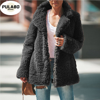 Faux Fur Thicken Women Jacket Coat Plus Size 5XL Top Long Sleeve Turn Down Collar Female Coats Solid Casual Loose Ladies Tops