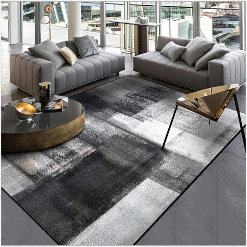 AOVOLL Simple Modern Abstract Chinese Ink Black Gray Carpet Bedroom Kitchen Door Mat Living Room Floor Mat Carpet Rug Bedroom