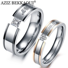 Wedding-Rings Engrave Couple Stainless-Steel Jewelry Promise-Band Engagement Name Fashion