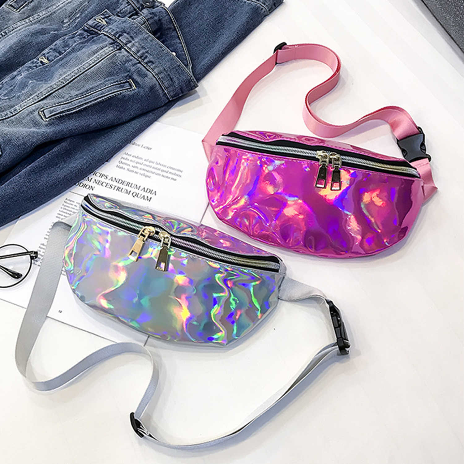 AELFRIC 2019 Hip Hop Vrouwen Pack Belt Bag Shiny Laser Hologram Taille Zakken Reizen Schoudertas Party Rave Hip Bum tas Streetwear
