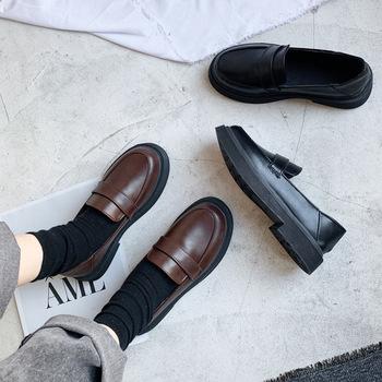 Wiosna nowe buty damskie muszka mokasyny solidna skóra niskie obcasy damskie Slip On obuwie damskie Pointed Toe grube obcasy oksfordzie tanie i dobre opinie BeautyFeet Kwadratowy obcas Niska (1 cm-3 cm) podstawowe Na co dzień Dobrze pasuje do rozmiaru wybierz swój normalny rozmiar