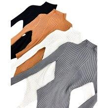Mulher uma peça de malha com nervuras bodysuit, pescoço simulado mangas compridas cor sólida sexy macacão camisola topo 2020 novo quente soild cor S-XL
