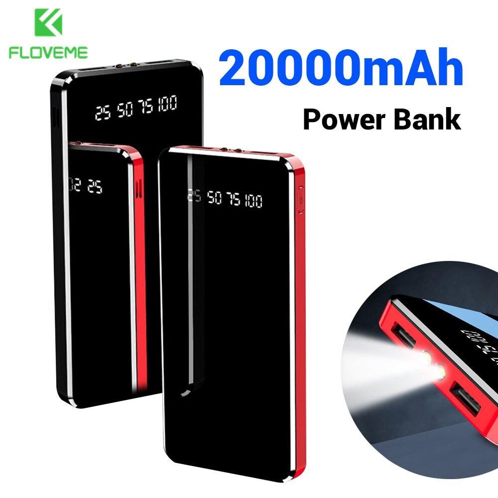FLOVEME внешний аккумулятор 20000 мАч двойной USB зеркальный экран светодиодный дисплей портативное зарядное устройство для Xiaomi Внешний аккумуля...