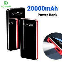 FLOVEME Power Bank 20000mAh Dual USB Mirror Screen LED Displ