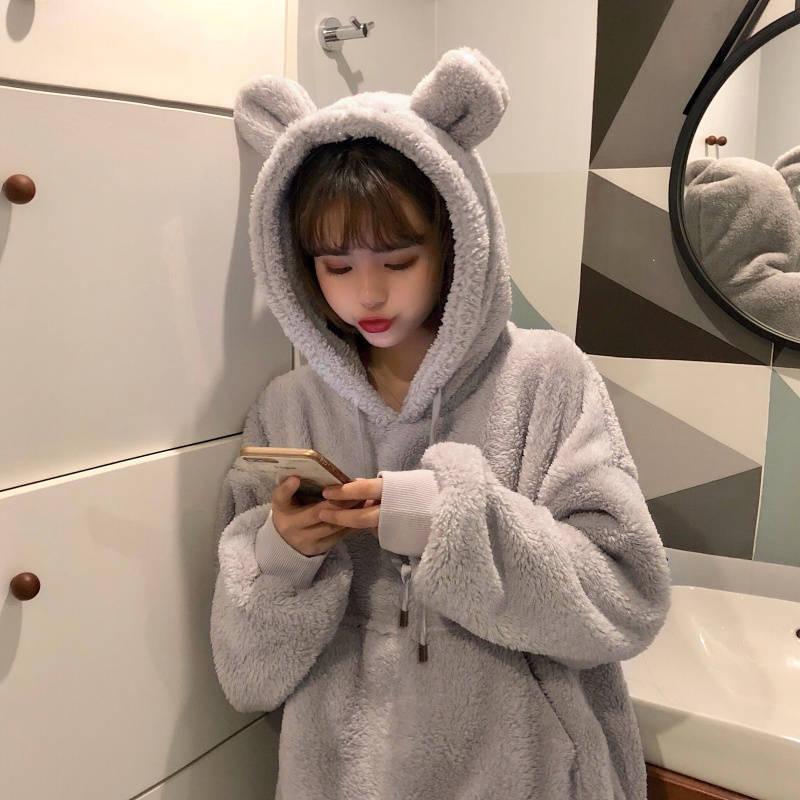 Kawaii feminino hoodies pulôver menina inverno solto fofo urso orelha hoodie com capuz jaqueta quente outerwear casaco bonito moletom meninas
