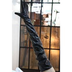 Gant en cuir pour femmes 65cm90cm | Gants Extra longs et droits en peau de mouton, coudières, 48 types de couleur, longueur personnalisée, taille noir