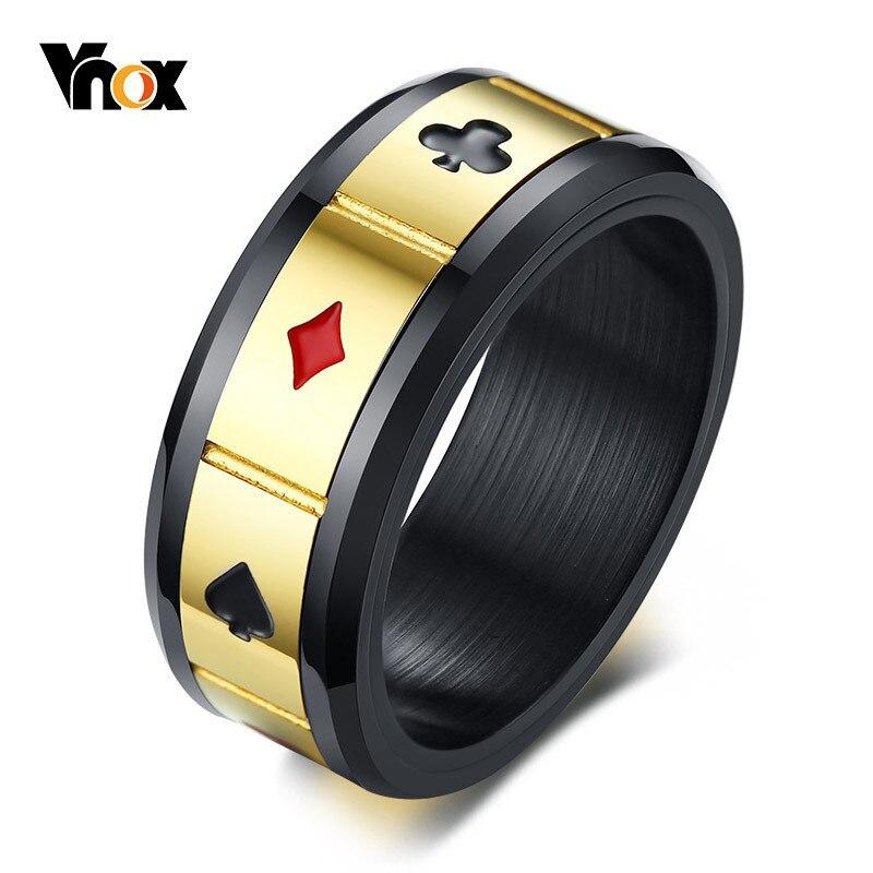 Vnox на удачу мужские вертушки кольца Мир Мудрость любовь очарование игральные карты Лас-Вегаса мужской Анильо рок аксессуар