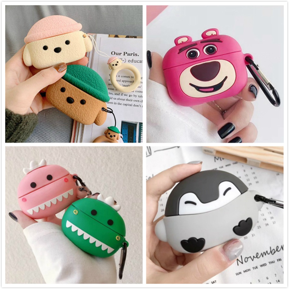3D Bear Earphone Case For Airpods Pro Case Cute Silicone Cartoon Case For Apple Airpods Pro 3 Cover Headphone Earpods Keychain