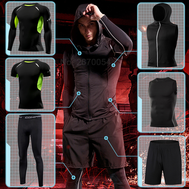 Tight Running Set For Men Fitness Sportswear Jogging Sport Suit Gym Compression Sports Clothing Training Tracksuit Rash Guard