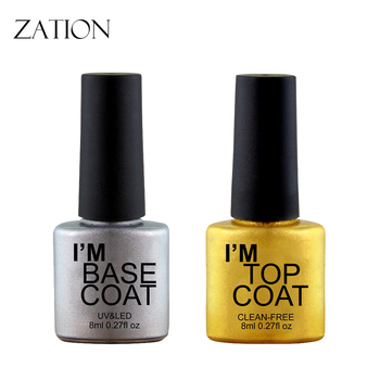 Zation Nail Polish Reinforce Base Top Coat Lacquer Long Lasting Gel Lak 8ml Matt Varnish Transparent UV LED Soak off Primer 86102 soak off primer gel gdcoco 8ml nail polish base coat top coat matte gel varnish ultra bond no acid primer hybrid basegel