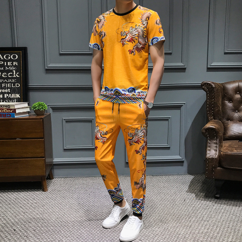 Chinese Style Dragon Print Tracksuit Men Fashion 2Pcs T-shirt Sweatpants Men's Sportswear Casual Suits Social Men Clothes