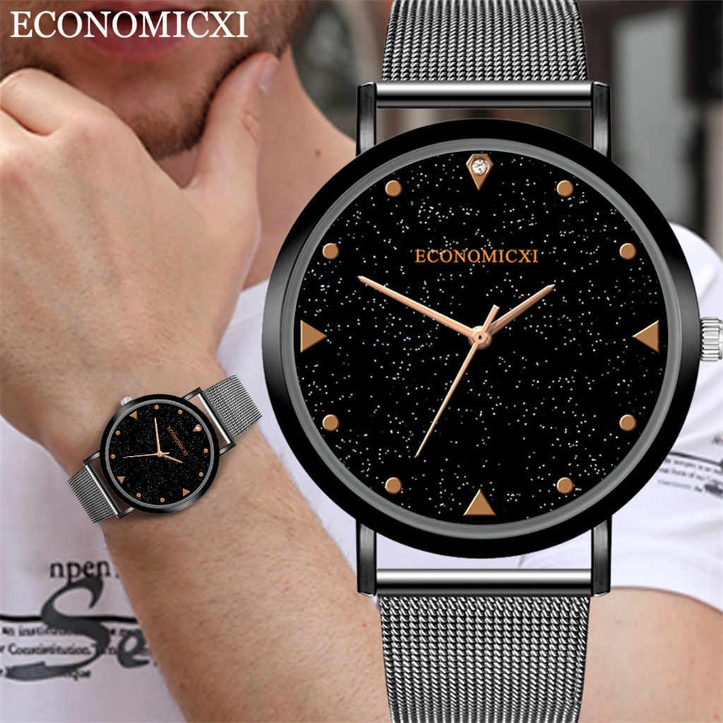 Часы мужск שמי זרועי הכוכבים שעון איש אנלוגי קוורץ שעון יד נירוסטה גברים Relogio Masculino מזדמן זכר שעון שעוני יד Q4